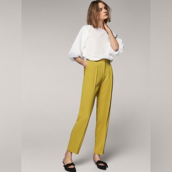 Massimo Dutti Pants - NWT Massimo Dutti Yellow/Green Slim Trouser Pants